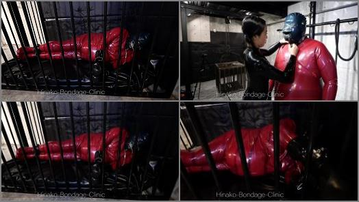Online – Hinako Bondage Clinic – Big Cage for a Big Guy, Big Latex Man Gets Caged by Latex Japanese Mistress