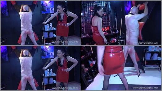 Latex Mistress – Lady Bellatrix starring in video 'Brutal Cold Caning for Masochist Slave' of 'Lady Bellatrix – Queen of Mean' studio
