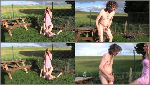 K2s.cc – Sophia starring in video 'Beer Garden Ballbusting' of 'Ball Busting World' studio