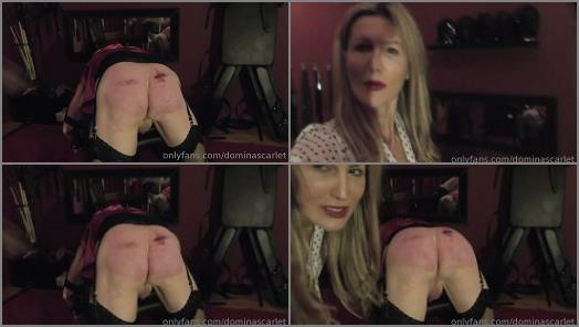 Slave Ownership Onine – Domina Scarlet starring in video 'The Punishment Continues For The Regional Manager With The Rubber Strap'