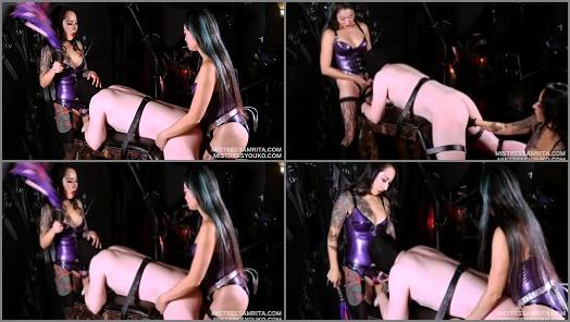 Strap-on – Mistress Amrita and Mistress Youko starring in video 'Japanese Doubledomme Spitroast strap on and blowjob slave training'