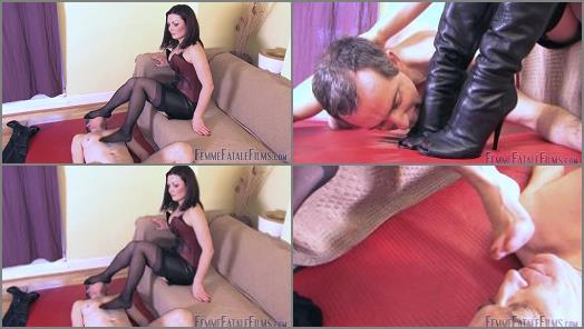 Footdom – Mistress Heelena starring in video 'Heelena's Foot Slave – Comlete Film' of 'Femme Fatale Films' studio