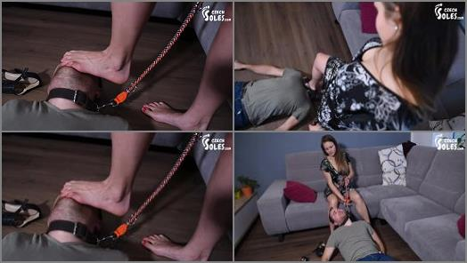 Megan starring in video Foot goddess training her slave on a leash of Czech Soles studio preview
