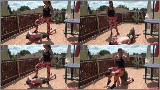 Femdom –   Goddess Zia, Personal trainer makes weak losers be her slaves