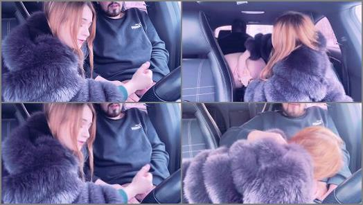 Strapon – Mistress in a Fur Coat Fucked a Guy in the Car and Sucked him until he Cum