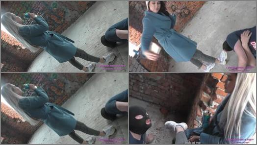 Spitting – LICKING GIRLS FEET – NICOLE – Walk through an abandoned house – Humiliates her pathetic loser slave