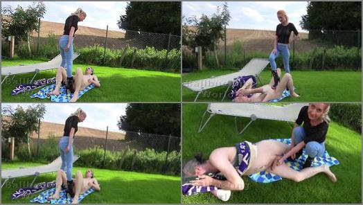 Outdoors – Ballbusting World PPV – Extremely hard outdoor ballbusting from Sophia in Jeans BB1487 –  Sophia