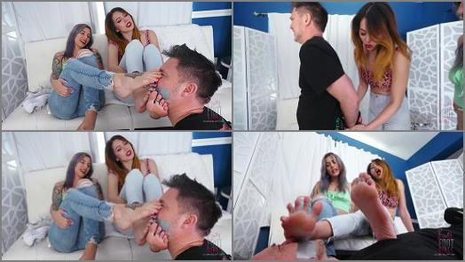Foot Domination – Bratty Foot Girls – Lose the Game, Smell the Feet –  Onyx and Mia
