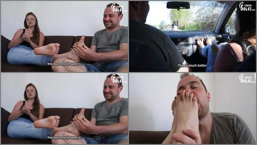 Feet In Car – Czech Soles – College girl with long toes hitchhiking foot worship