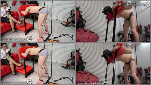Anus – Hinako Bondage Clinic – Testicle Suspension Arms and Neck Tied to Head and Anal Vibrator Stuck Up Ass