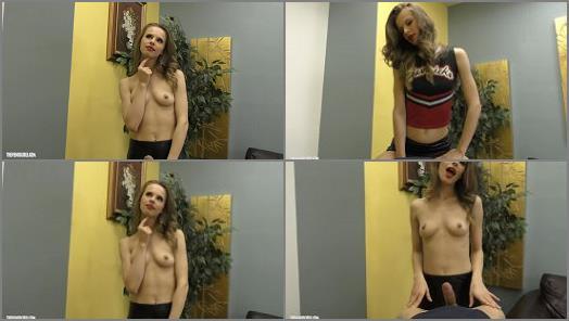 Hot mistress Jillian the Cheerleade cosplay and handjob domination